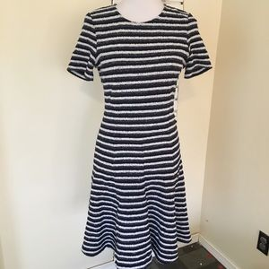 Theory Striped Dress Navy S/S Fit Flare Flaw